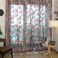 romantic floral tulle voile door window curtain drape panel sheer