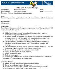 haccp procedures template pre requisite sanitation procedures