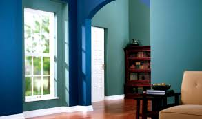 cool design tiffany blue wall paint color with white bathub on the