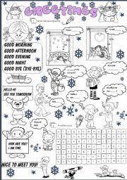 english worksheet greetings esl pinterest worksheets