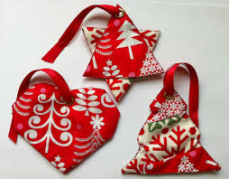 three handmade fabric tree ornaments folksy