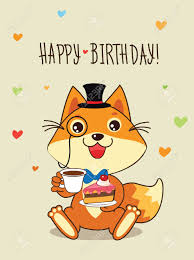 Cartoon Cat Memes - happy birthday card funny fox with in a bowler hat and cake in