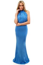 avanya royal blue high neck lace evening dress miss g