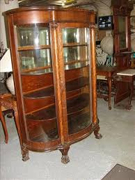 curved glass china cabinet antique curved glass claw foot china cabinet