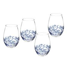 spode blue italian stemless wine glass set of 4 spode uk