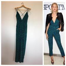 teal jumpsuit teal green print my way romper jumpsuit size