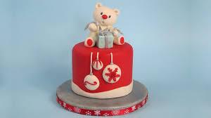 teddy bear cake topper christmas cake youtube
