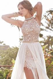com buy free shipping high neckline a line modest prom dress