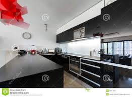 modern black kitchen modern black and white kitchen interior stock image image 26611821