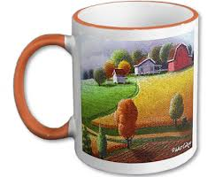 unique coffee mugs cups with appalachian rural country farm scenes