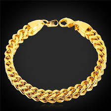 gold bracelet chain styles images Rock style 18k gold plated gold bracelet wheat chain mens jpg