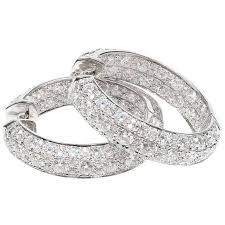 white gold hoop earrings ltj diamond white gold hoop earrings for sale at 1stdibs
