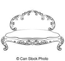 vector clip of royal sofa with classic ornaments vector