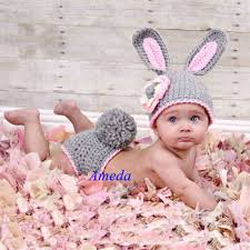 easter photo props 2 pieces set gray easter rabbit bunny knit crochet baby costume
