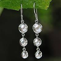 pearl dangle earrings pearl dangle earrings pearl earrings at novica
