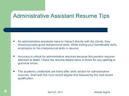 resume administrative skills administrative assistant resume