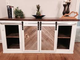 solid wood entertainment cabinet custom handmade solid wood barn door console entertainment