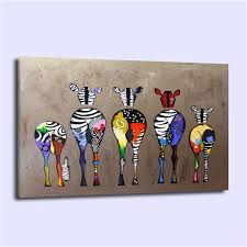 2017 abstract colourful zebra home decor hd printed modern art