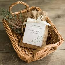 rustic wedding favors rustic burlap favor bag with personalized tag and ribbon bow