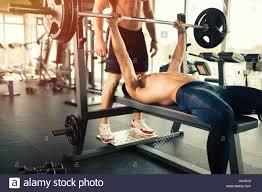 Bodybuilder Bench Press Muscular Bodybuilder Bench Press Workout Stock Photo Royalty Free