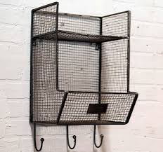 Metal Wall Shelving by Wire Wall Shelf Painted Wood Ladder Wire Wall Bins With Hooks