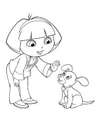 dora teach dog stay dora explorer coloring