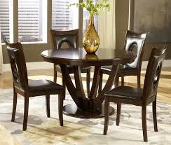 homelegance vanbure 5 piece round pedestal dining room set in rich