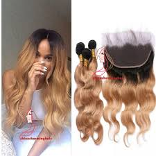 ombre weave 1b 27 ombre hair 3 bundles with 13x4 lace frontal two