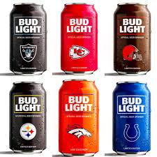 order nfl bud light cans light beer toasts broncos fans with beer giveaway