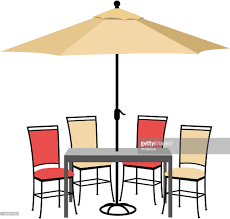 Patio Table Parasol by Patio Furniture Set Vector Art Getty Images