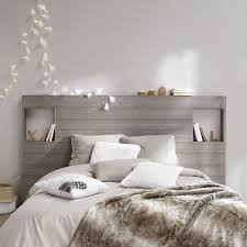 d馗oration int駻ieure chambre chambre blanc et taupe gris tête de lit en bois décoration