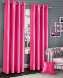 Lined Curtains Stylish Ring Top Eyelet Lined Curtains Plain Faux Silk Fushia