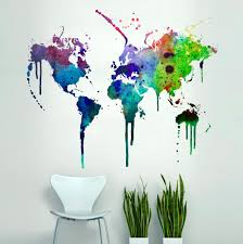 World Map Wall Sticker by World Map Watercolor Decal Watercolor World Map Wall