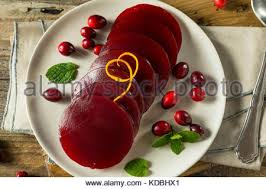 sweet canned cranberry sauce for thanksgiving dinner stock photo
