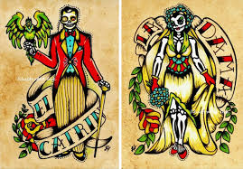 day of the dead couple art prints loteria la dama u0026 el catrin