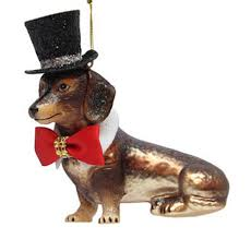 december diamonds glass ornament dachshund with top hat