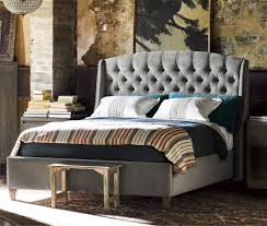 furniture curated halston king bed grey cloud velvet