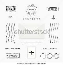 set post stamp symbols mail envelope stock vector 299796152