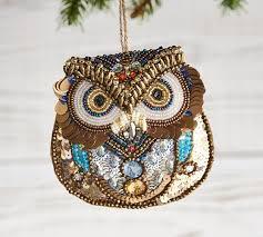 owl ornaments beaded owl ornament pottery barn