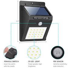 bright night solar lighting solar light 20 led bright outdoor security lights with motion sensor