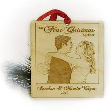 our ornament laser engraved wood polaroid photo
