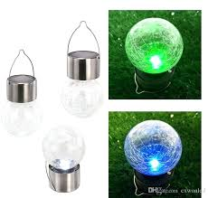 Solar Stake Garden Lights - solar powered color changing outdoor led light ball crackle glass