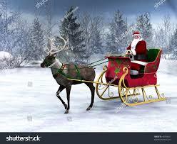reindeer pulling sleigh santa claus it stock illustration 40938421
