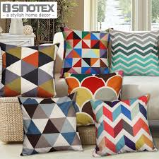 1 pcs nordic vintage cushion cover colorful plaid geometric