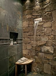 unique small bathroom with rustic shower area and stone wall idea