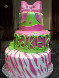 mymonicakes pink and lime green zebra print cake with