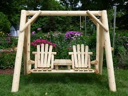 Log Outdoor Furniture by Double Chair Swing Cedar Log Swing Cedar Creek Furniture