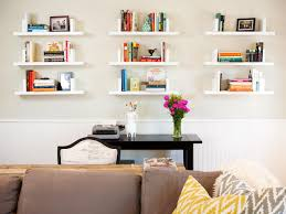 decor floating bookshelves with classic type writer and indoor