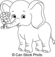 clip art vector coloring elephant coloring