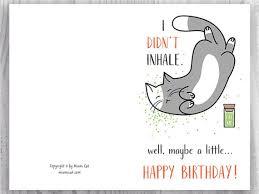 printable birthday ecards printable birthday cards funny cat birthday cards stoner cat
